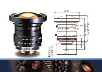 "Wide Angle 6mm 1"" C-mount lens from Kowa"